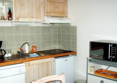 Zoom sur le coin cuisine avec lave-vaisselle, réfrigérateur et four micro-ondes